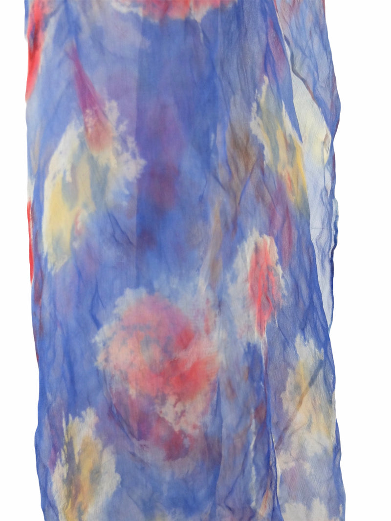 Vintage 60s Mod Blue Abstract Floral Raw Silk Bandana Neck Tie Scarf