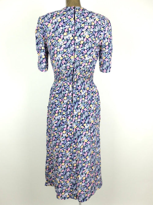 80s Romantic Floral Fit and Flare Half Sleeve Maxi Dress