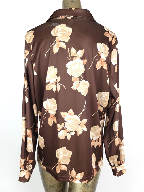 80s Mod Style Brown Floral Collared Long Sleeve Button Up Blouse