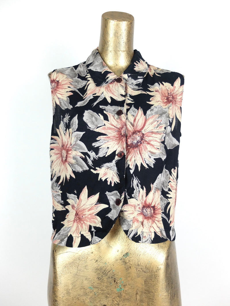 70s Bohemian Black Sunflower Floral Print Collared Sleeveless Button Up Tank Top