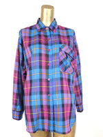 70s Western Pink and Blue Check Print Collared Long Sleeve Button Up Shirt