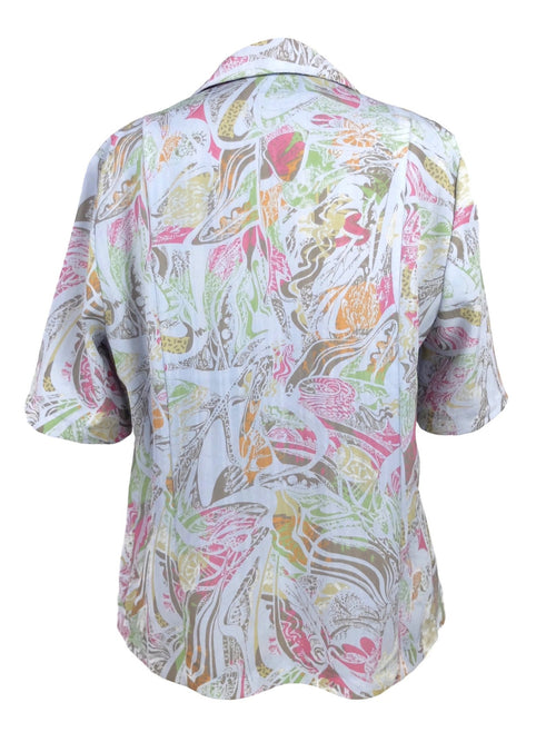 Vintage 80s Psychedelic Abstract Print Collared Half Sleeve Button Up Shirt