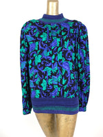 80s Royal Blue Floral Mockneck Structured Boxy Long Sleeve Blouse with Padded Shoulders and Elasticated Waist