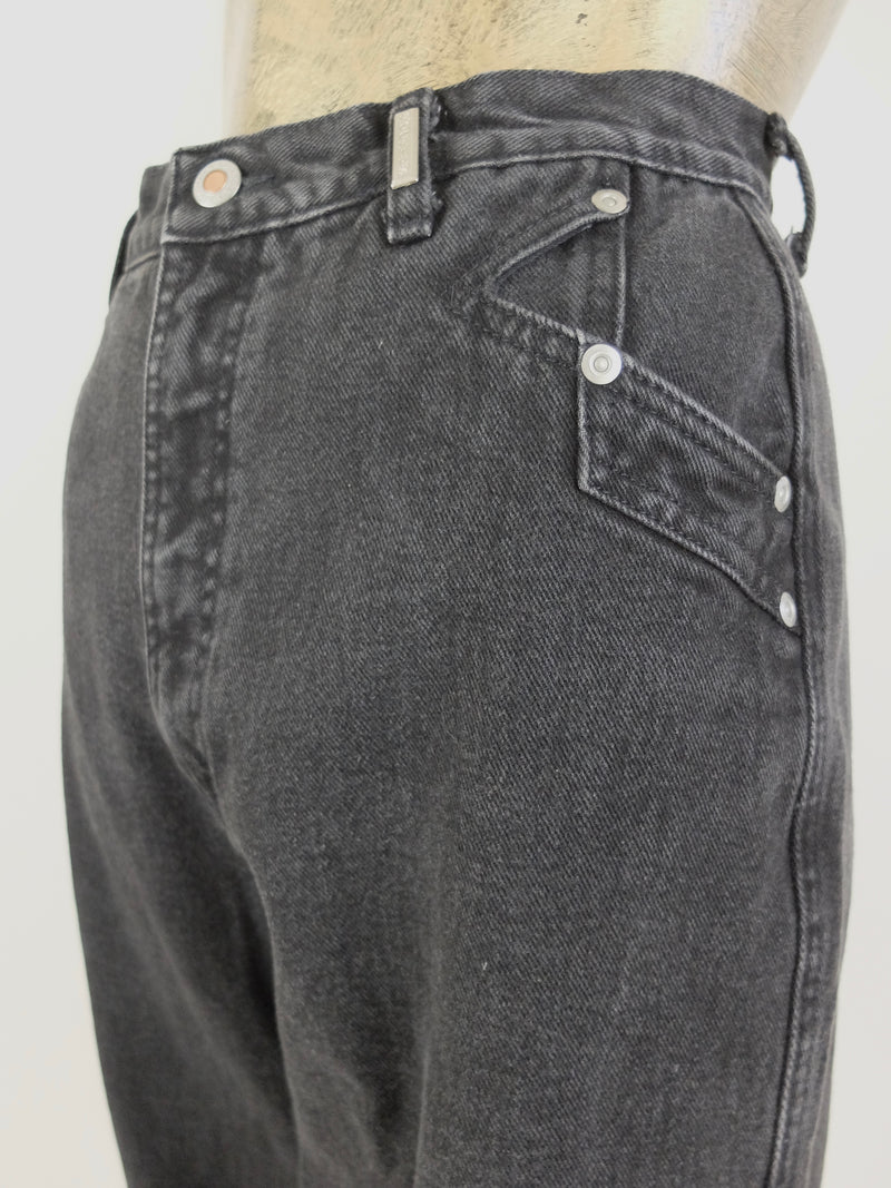 80s Rocky Mountain Rockies High Waisted Black Dark Wash Denim Straight Leg Jeans
