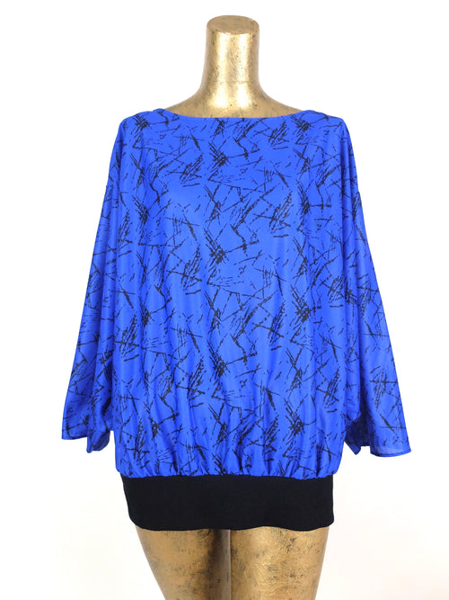 70s Bright Royal Blue Abstract Lines Flowy Long Sleeve Pullover Blouse with Elasticated Waist