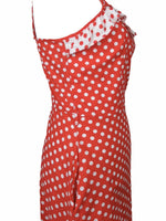 Vintage 70s Red and White Mod Prairie Milkmaid Polka Dot Sweetheart Neckline Sleeveless Ruffled Floor Length Cotton Maxi Dress