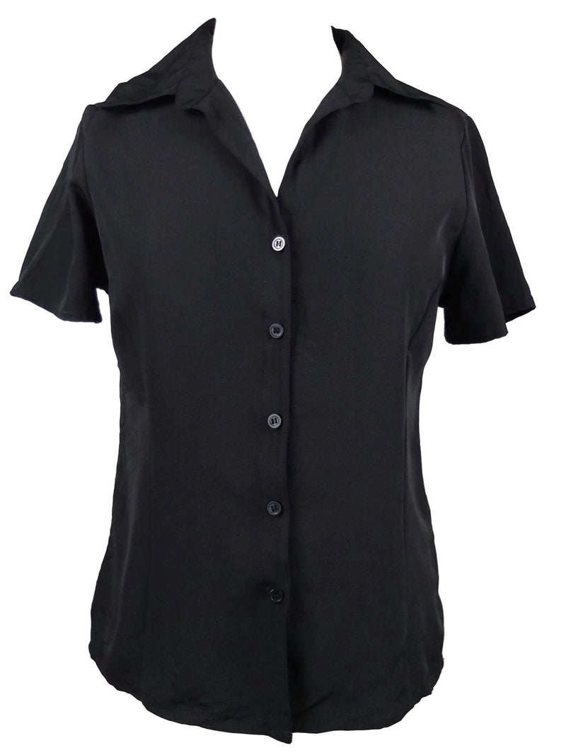 Vintage 90s Y2K Basic Black Collared Short Sleeve Button Up Shirt