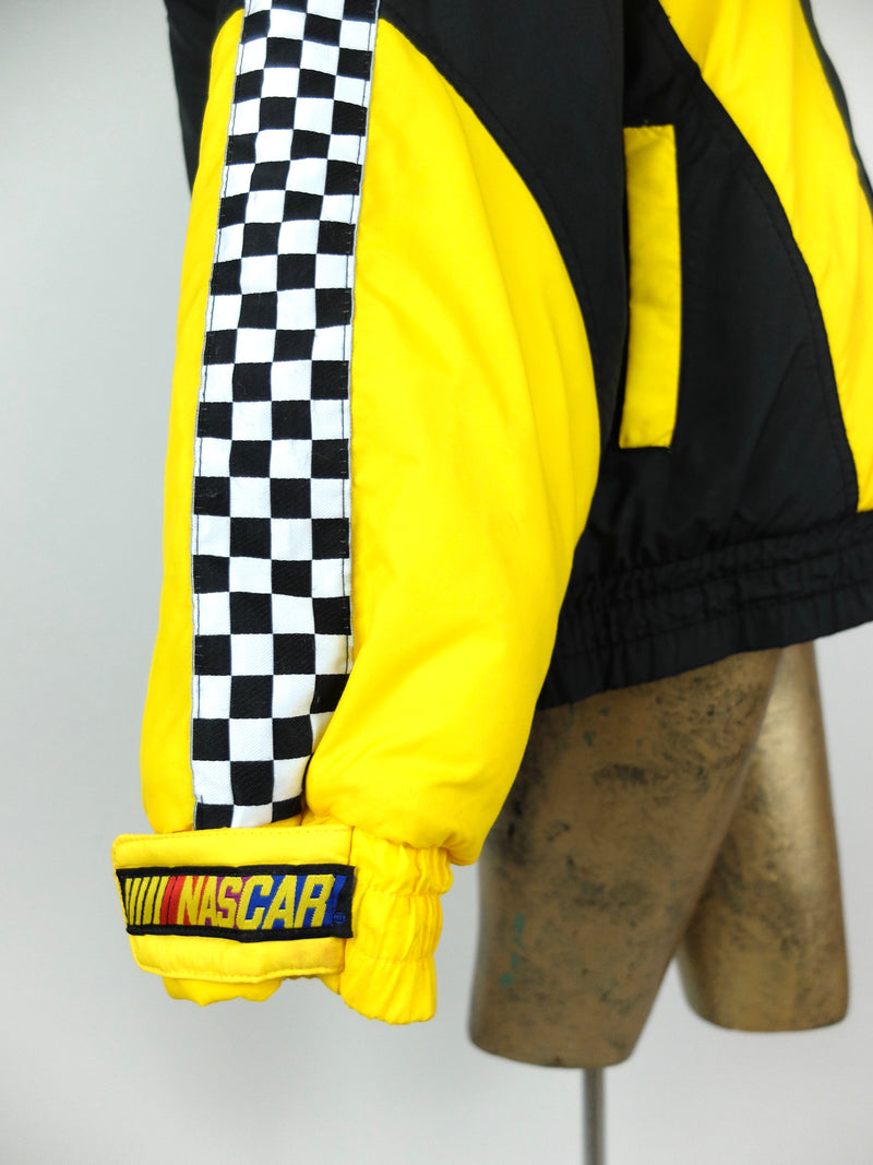 80s TC Exclusive NASCAR Check Print Car Racing Padded Puff Windbreaker Jacket