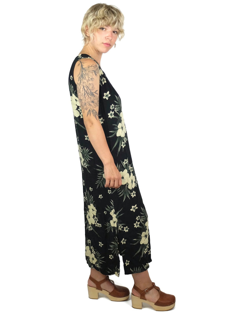 80s Tropical Hawaiian Black Floral Sleeveless Maxi Shift Tank Dress