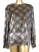 80s Silky Floral Abstract Long Sleeve Pullover Disco Blouse