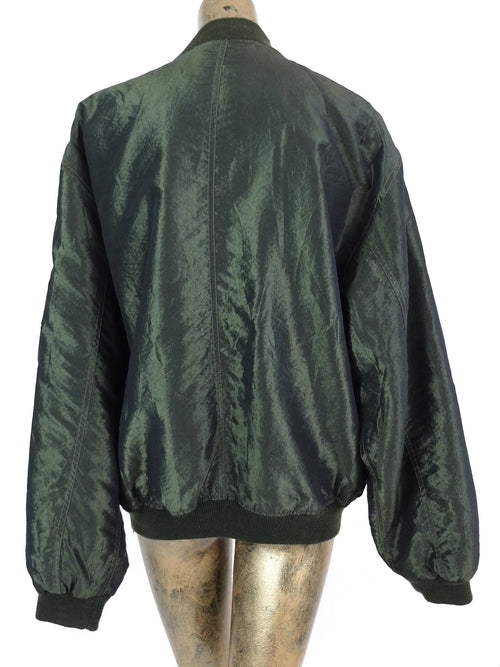 80s Dark Green Windbreaker Bomber Jacket