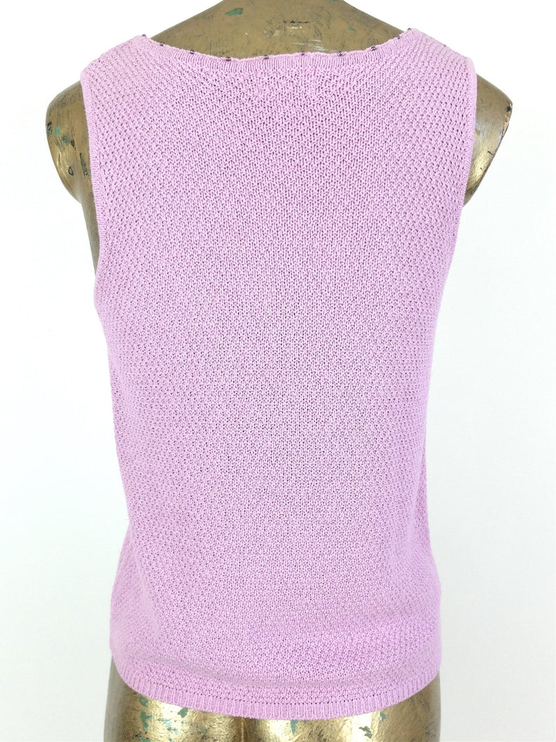 90s Pink Sleeveless Scoop Neck Knit Tank Top Blouse
