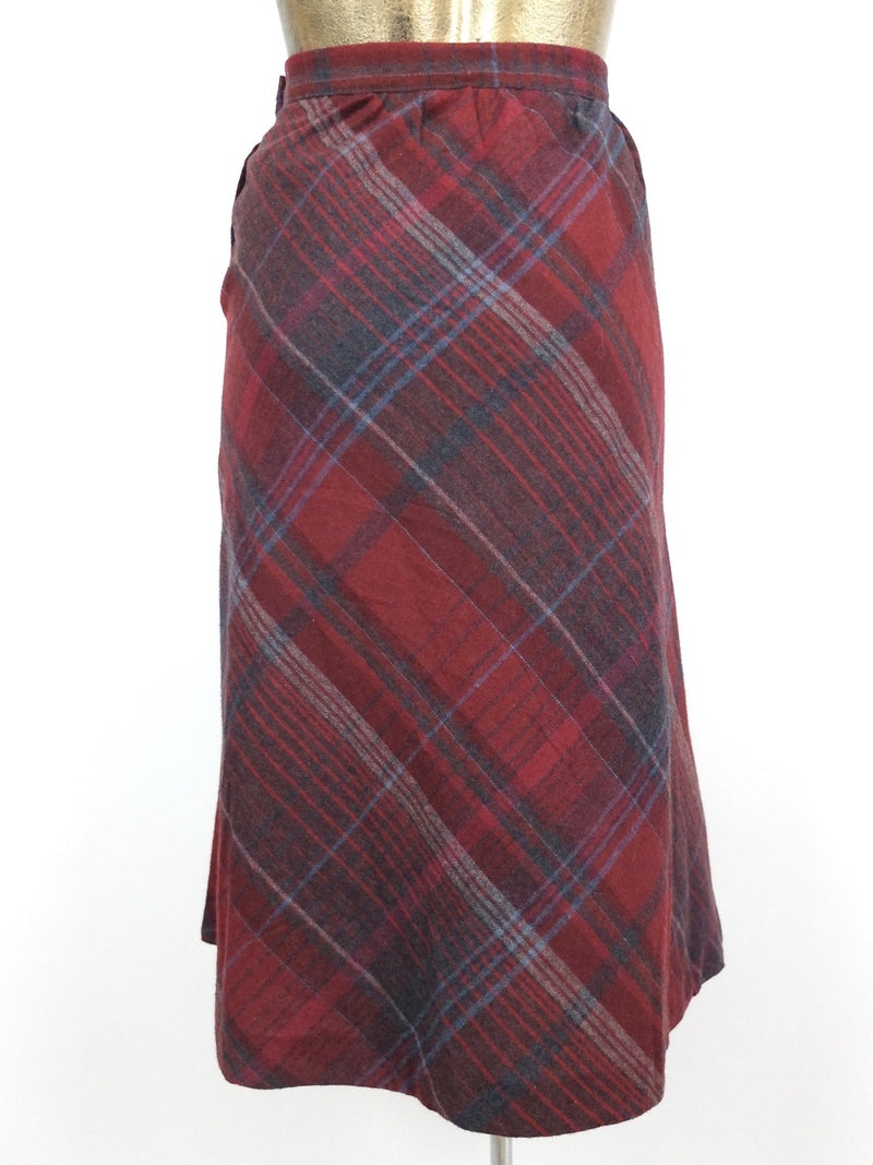 70s Wool Argyle Check Print High Waisted Below-the-Knee Circle Midi Skirt