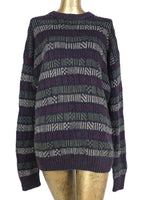 80s Hemp Abstract Striped Knit Pullover Crew Neck Sweater Jumper