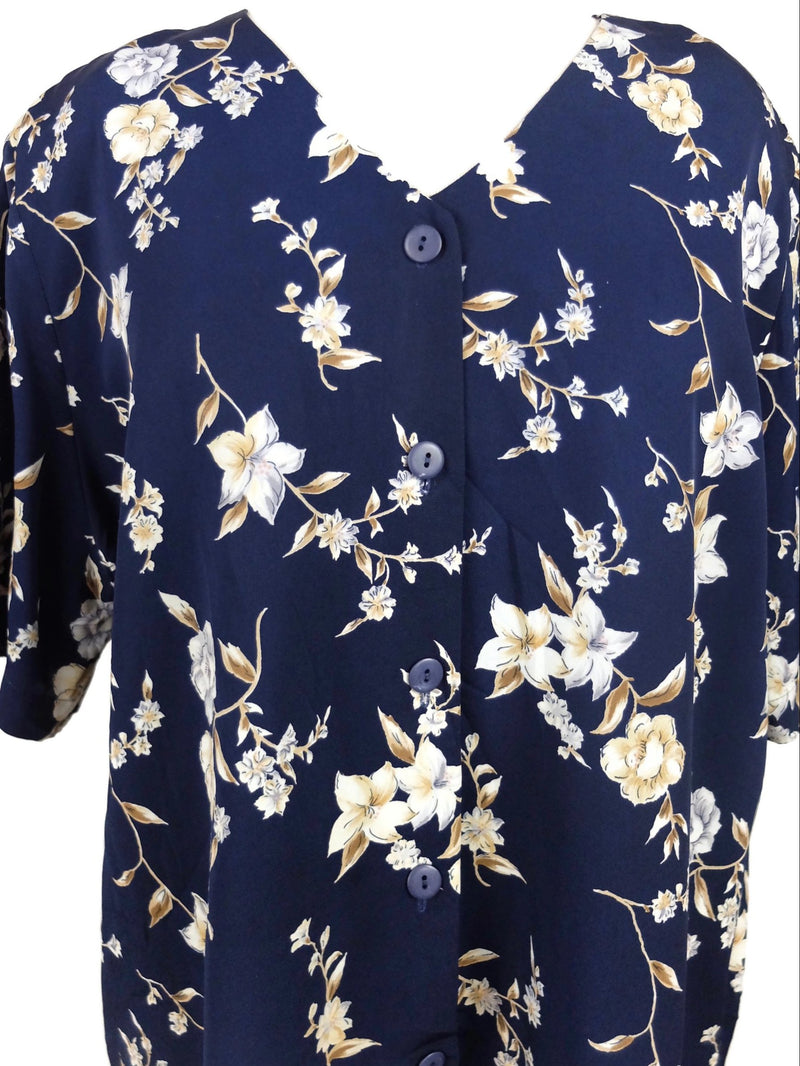 Vintage 80s Navy Blue Floral Short Sleeve V-Neck Button Down Blouse