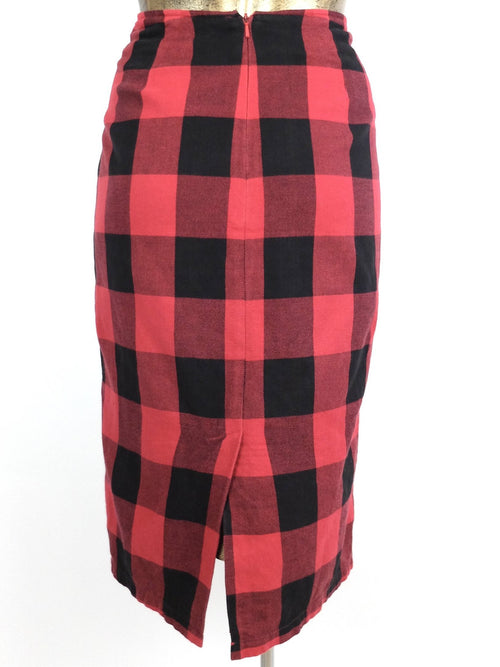 80s Punk Grunge Style Red and Black Gingham Check Print High Waisted Cotton Midi Skirt