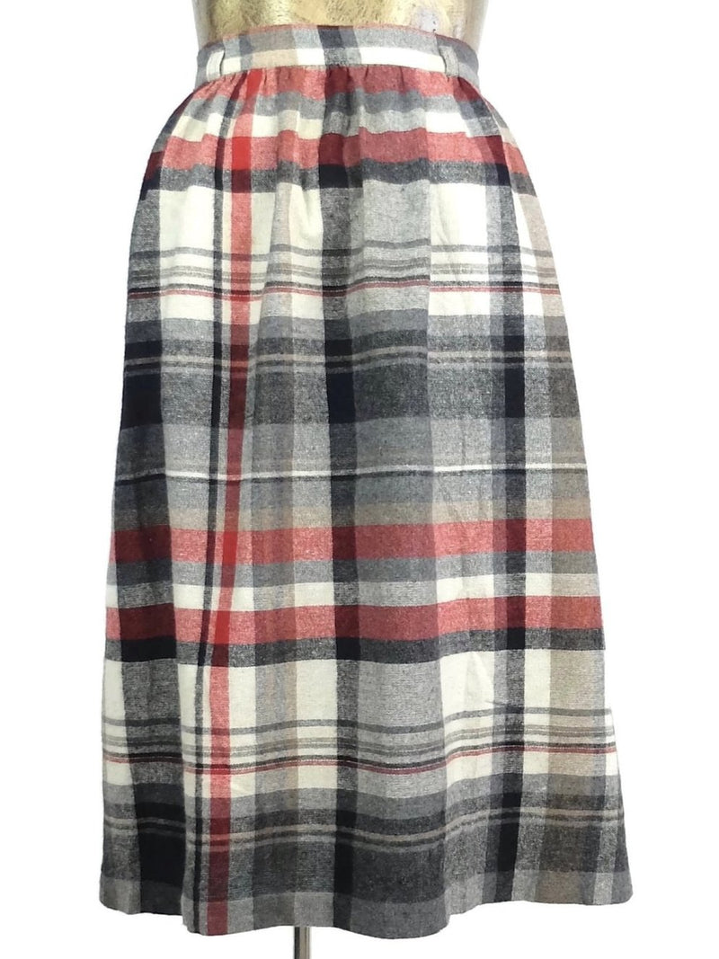 60s Mod Red and Grey Tartan Check Print High Waisted Circle Midi Skirt