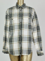80s Western Check Print Long Sleeve Collared Button Up Shirt