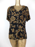 80s Bohemian Floral V-Neck Short Sleeve Button Up Blouse