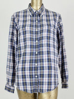 90s Check Print Long Sleeve Collared Button Up Shirt