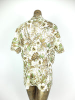 80s Hawaiian Green Floral Collared Short Sleeve Button Up Shirt