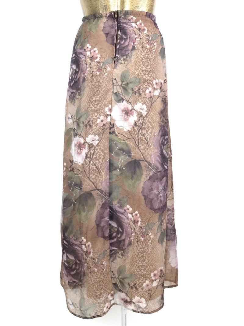 90s Floral High Waisted Chiffon Maxi Skirt