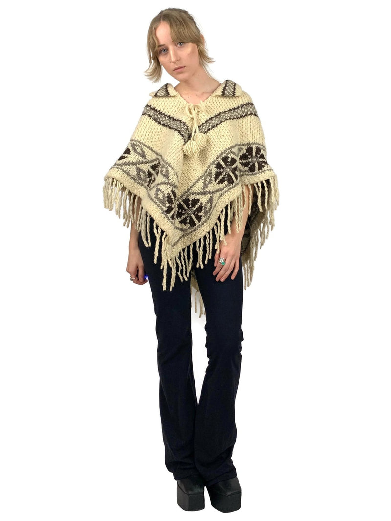 Vintage 70s Hippie Nordic Patterned Floral Chevron Striped V-Neck Collared Fringed Wool Poncho with Tassel Tie