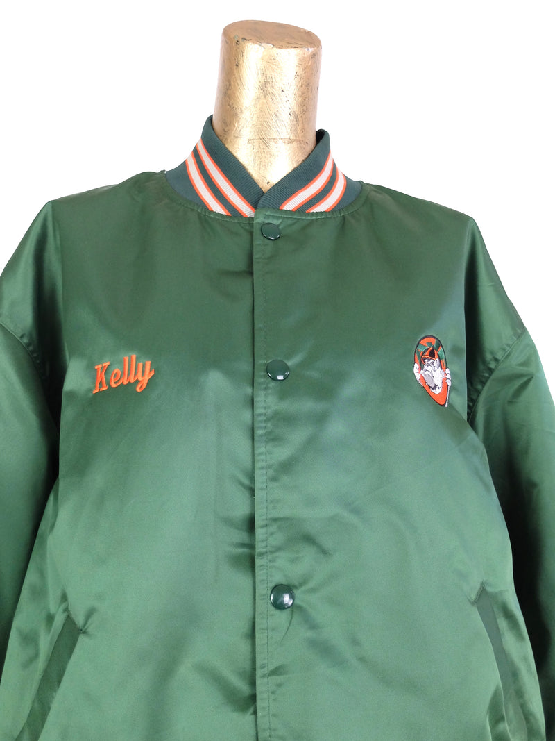 80s Athletic Satin Embroidered Green and Orange Snap Baseball Jacket