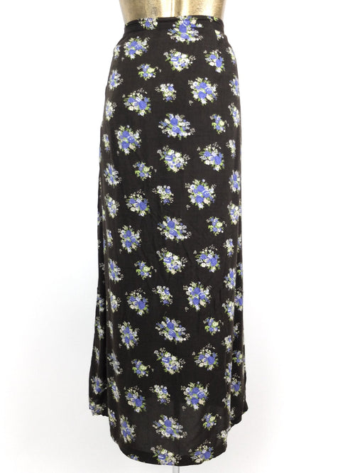 90s Black Floral Prairie Style High Waisted Straight Silhouette Skirt