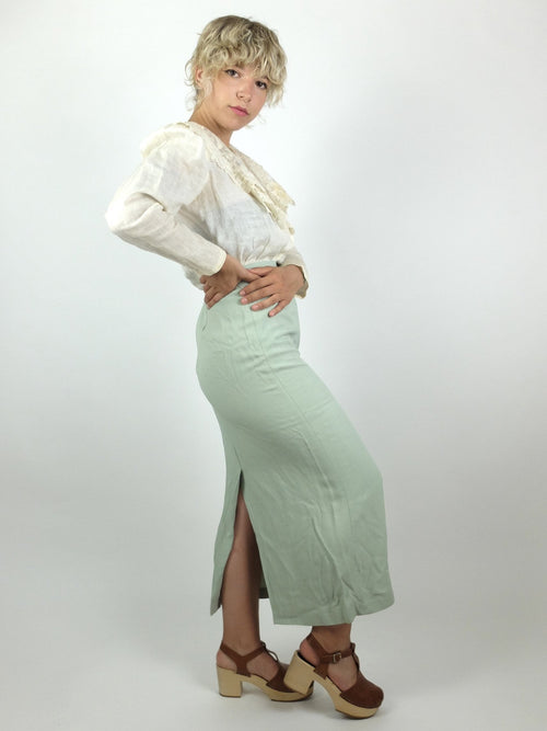 90s Mod Style Mint Green High Waisted Pencil Maxi Skirt with Back Slit