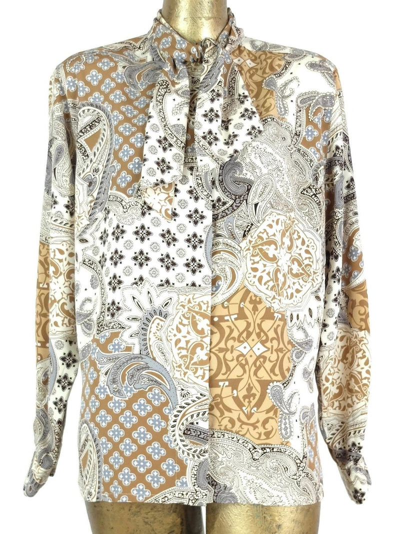 80s Mod Style Abstract Paisley Print Long Sleeve Button Up Blouse with Neck Tie and Padded Shoulders