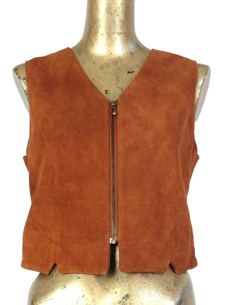 70s Hippie Bohemian Style Rust Orange-Brown Zip Up V-Neck Sleeveless Vest