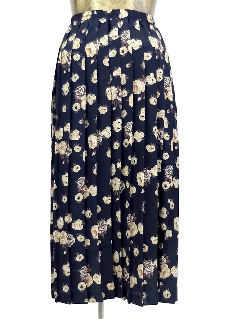 80s Floral Navy Blue High Waisted Pleated Maxi Skirt