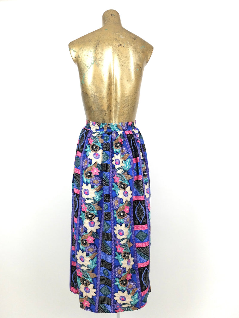 80s Abstract Floral High Waisted Circle Midi Skirt