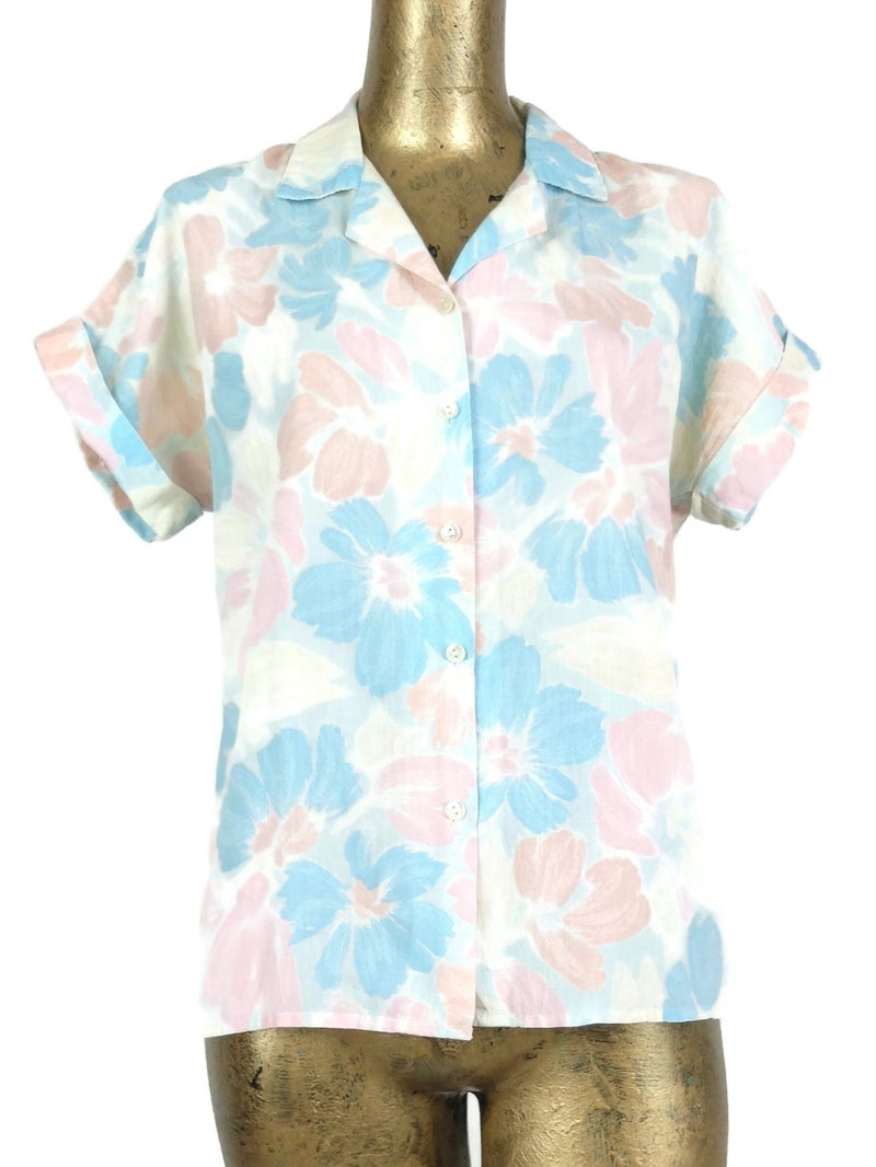 70s Mod Style Pastel Floral Collared Short Sleeve Hawaiian Shirt