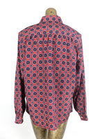 70s Mod Psychedelic Geometric Abstract Print Collared Long Sleeve Button Up Shirt
