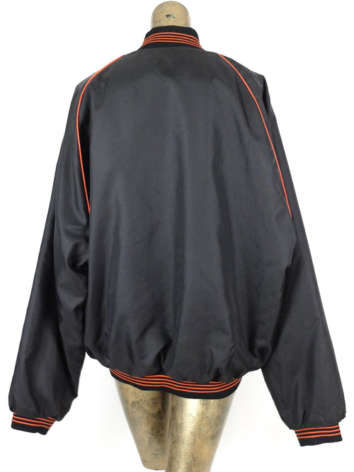 90s Athletic Black and Orange Snap Down Padded Windbreaker Baseball Jacket
