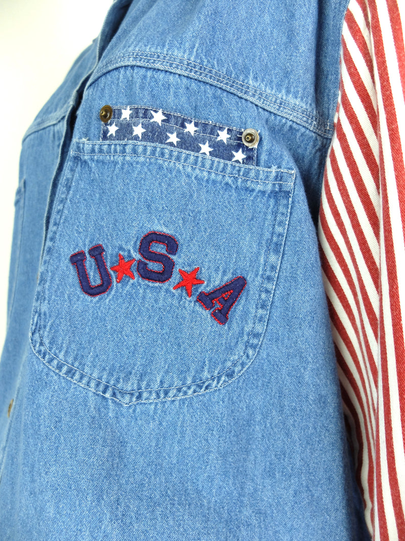80s USA American Flag Stars and Stripes Red White and Blue Collared Long Sleeve Denim Button Up Shirt