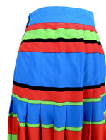 Vintage 70s Silk Mod Glam Rock High Waisted Bright Striped Pleated Mini Skirt