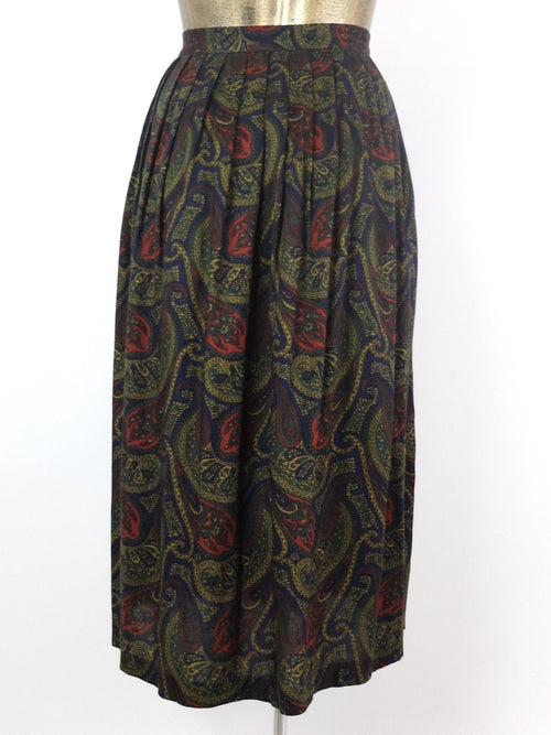70s Psychedelic Paisley Print High Waisted Pleated Full Circle Midi Skirt