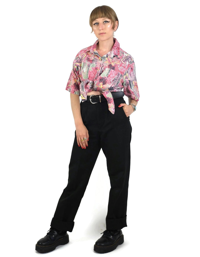 80s Abstract Pink Hawaiian Collared Short Sleeve Button Up Shirt