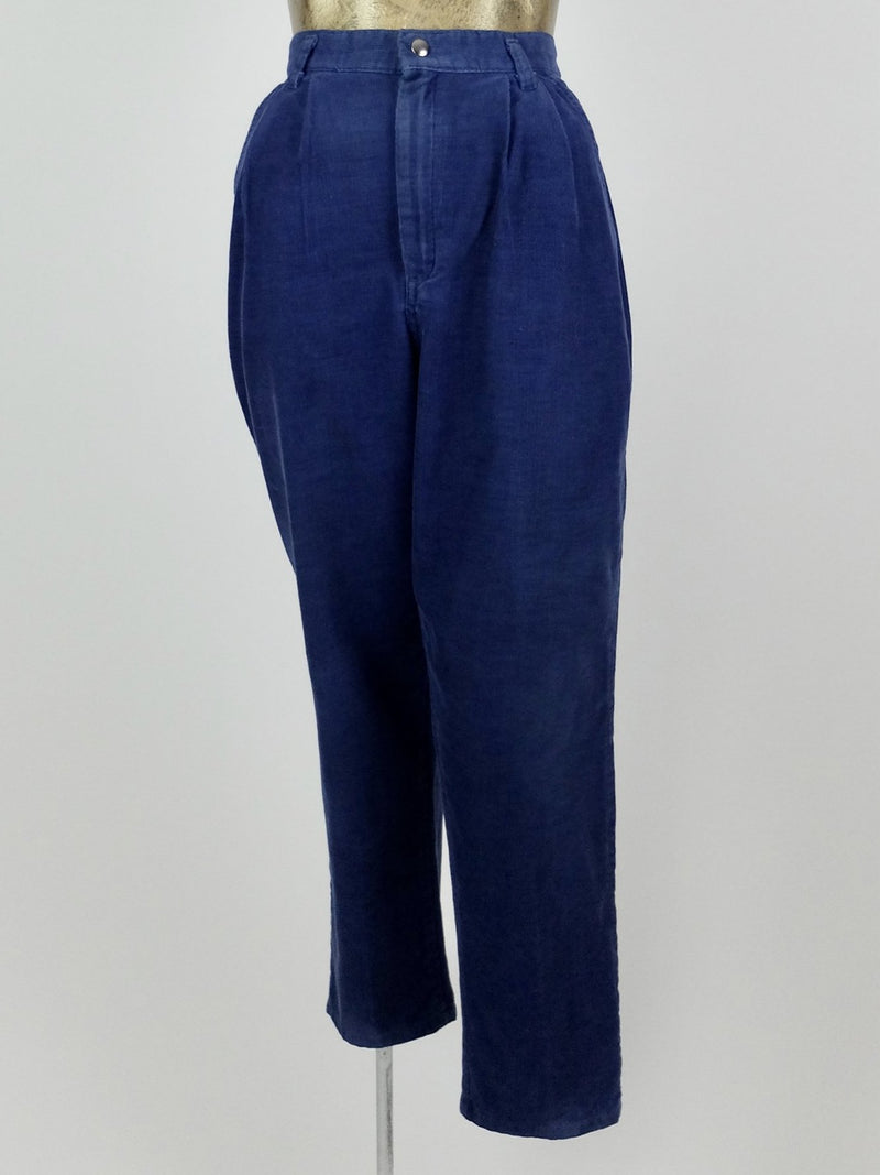 70s Royal Blue High Waisted Corduroy Straight Leg Trouser Pants