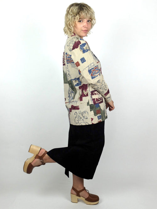 80s Abstract Symbols Lightweight Blazer Jacket