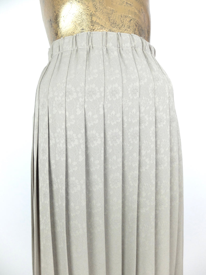 80s Tan High Waisted Pleated A-Line Midi Skirt