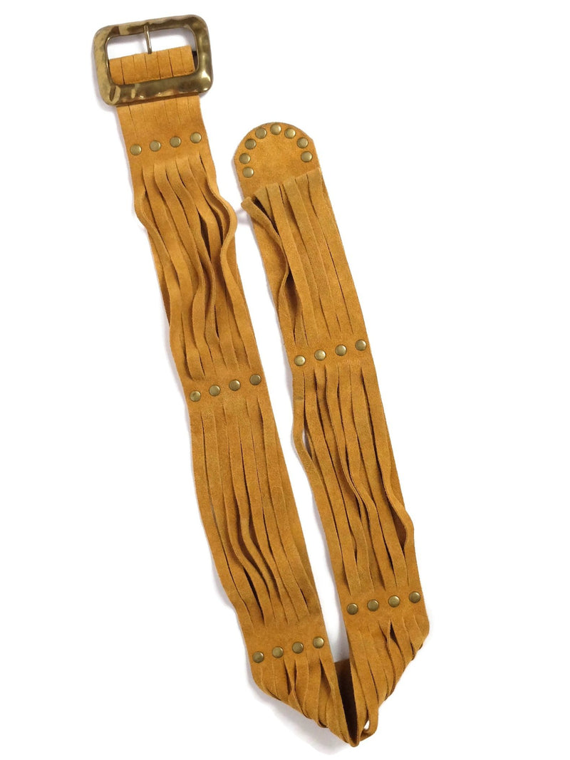Vintage 70s Western Hippie Fringed Rust Orange Brown Suede Leather Wide Studded Buckle Belt