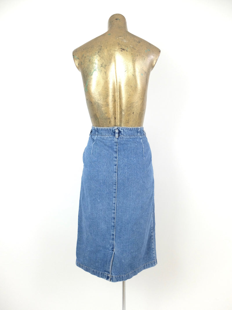 80s Bohemian High Waisted Medium Wash Denim Jean Midi A-Line Skirt with Pockets