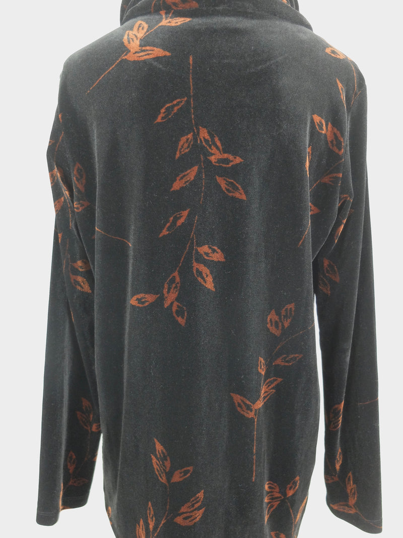 90s Black Velvet Floral Long Sleeve Turtleneck Tunic Blouse