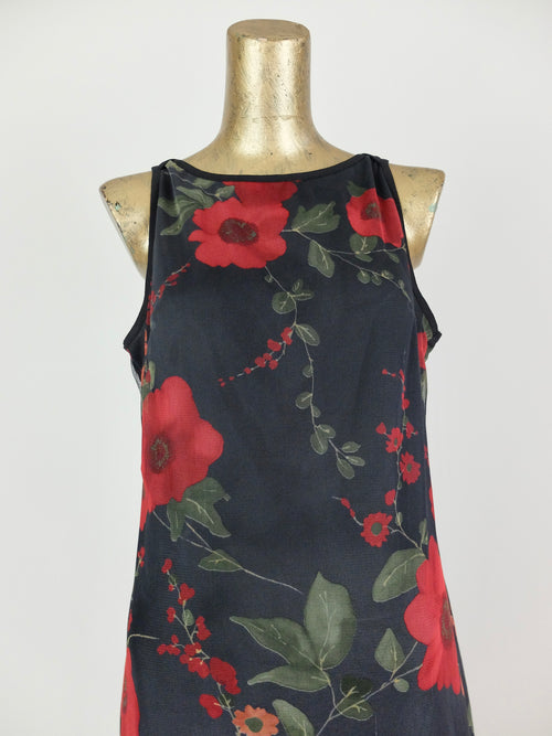 90s Y2K Black and Red Floral Sleeveless Tank Maxi Shift Dress