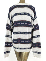 80s Abstract Geometric Striped Crew Neck Knit Pullover Sweater Jumper