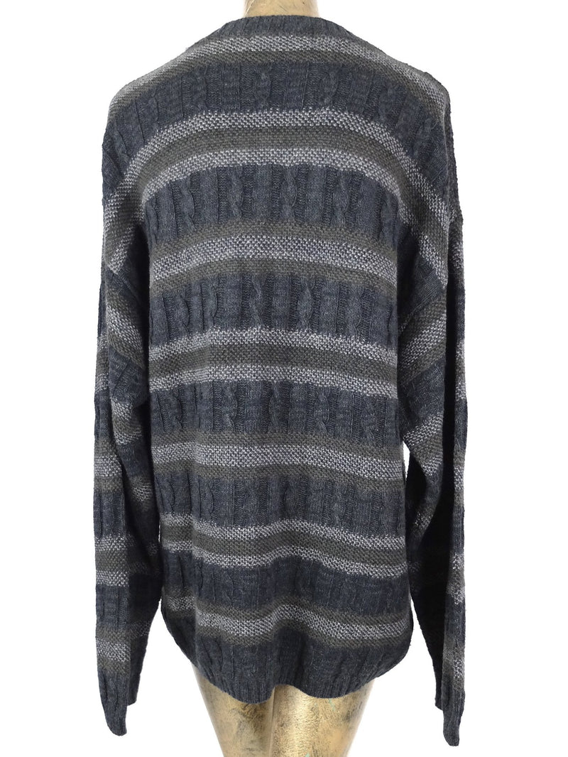 80s Grey Striped Crew Neck Pullover Sweater Jumper